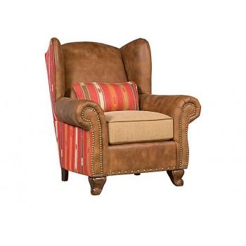 KING HICKORY Corona Leather Fabric Chair, Corona Ottoman