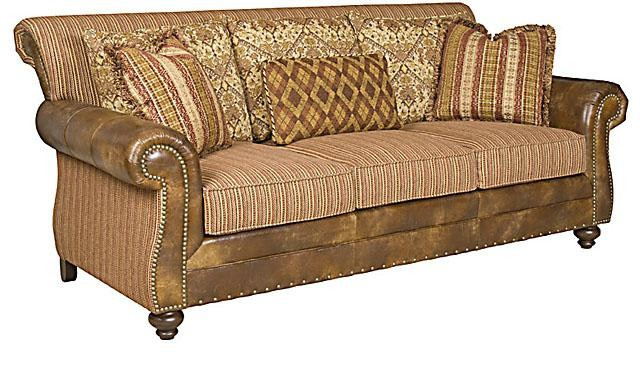 KING HICKORY Coffee House Leather/Fabric Sofa