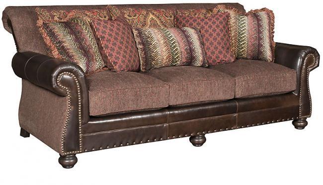 KING HICKORY Coffee House Leather Fabric Sofa