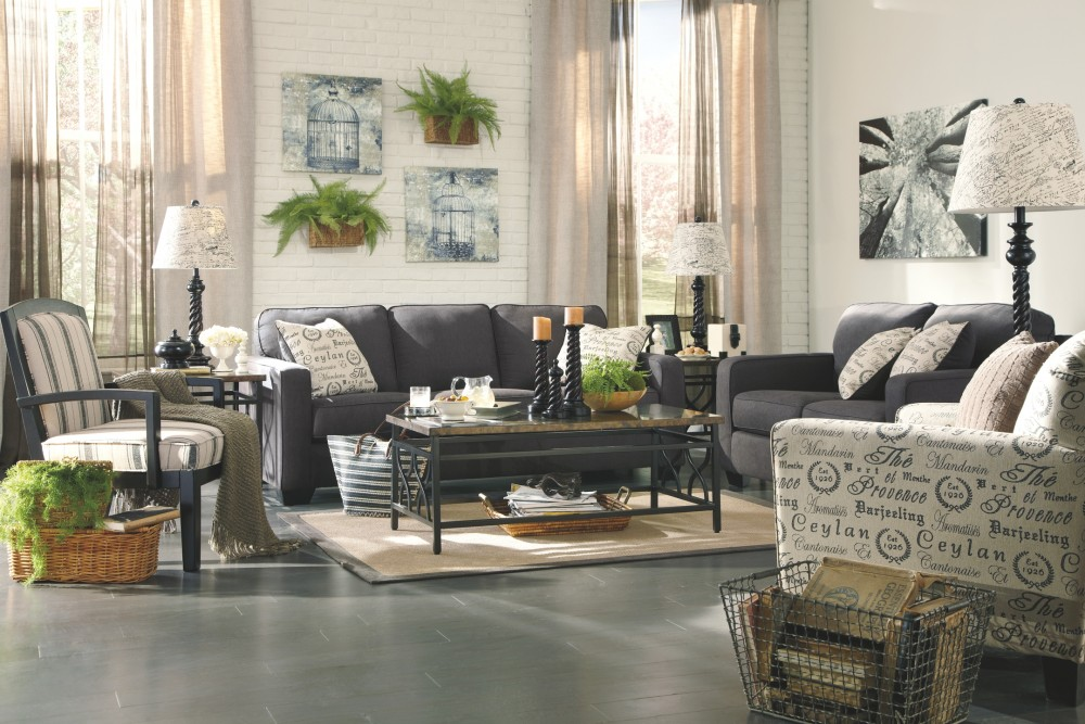 Alenya charcoal sofa 1660138 sofas railway freight furniture for Charcoal living room furniture