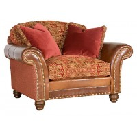 KING HICKORY Katherine Leather/Fabric Chair &1/2