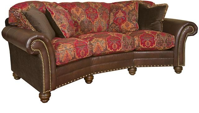 KING HICKORY Katherine Leather/Fabric Conversation Sofa ...