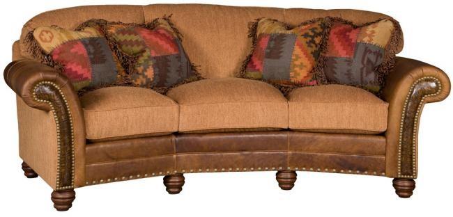 KING HICKORY Katherine Leather/Fabric Conversation Sofa ...