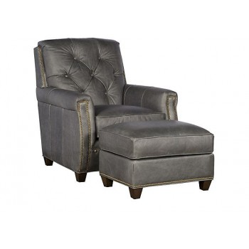 KING HICKORY Wyatt Leather Chair, Wyatt Leather Ottoman