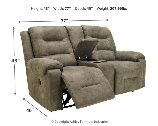 Rotation - Smoke - DBL REC PWR Loveseat w/Console