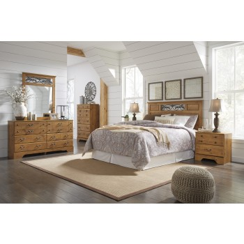 Bittersweet 5 Pc. Bedroom - Dresser, Mirror, Queen/Full Panel Headboard & Two Nightstands