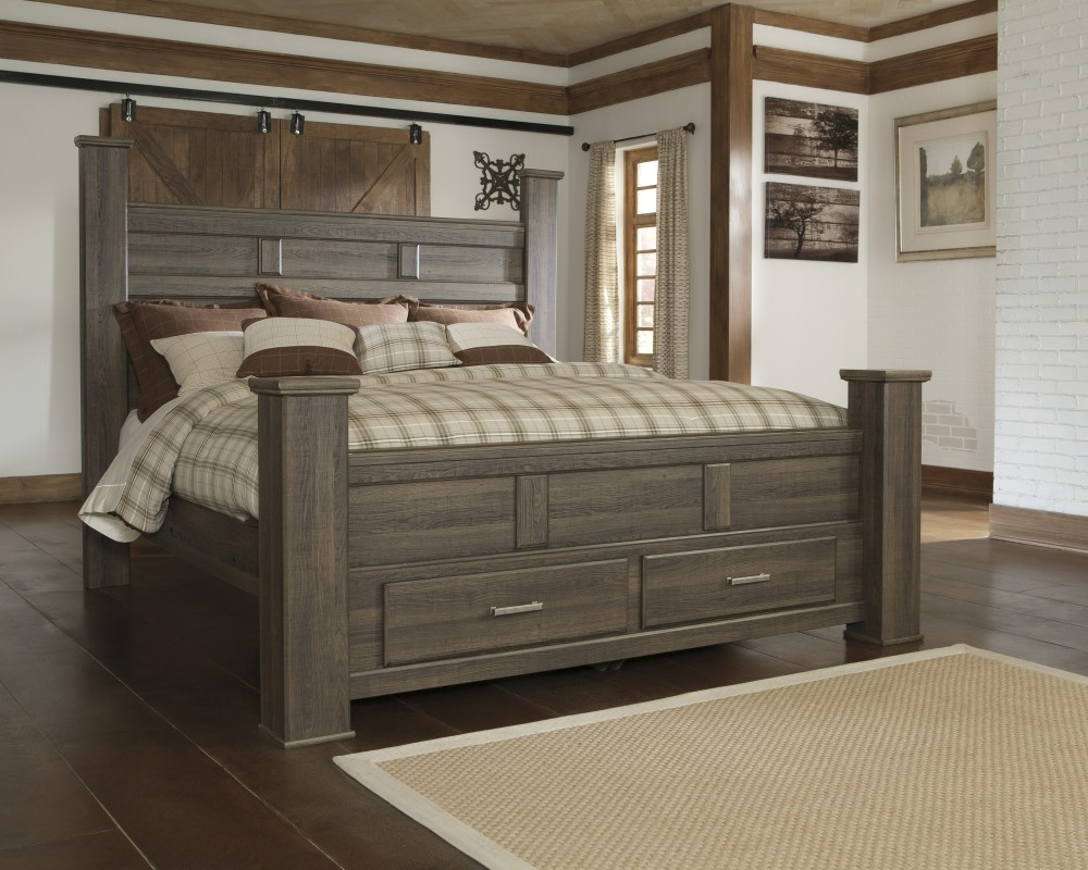 Juararo king poster bed with storage b251 66s 68 70 99 complete bed sets price busters furniture