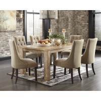 Mestler Bisque Rectangular Dining Room Table & 6 Light Brown UPH Side Chairs
