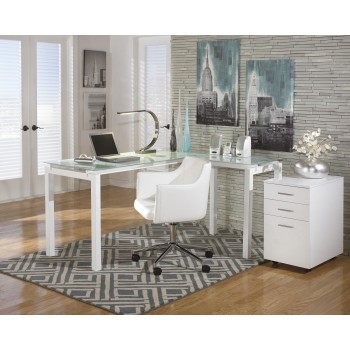 Baraga - L-Desk with File Cabinet & Swivel Desk Chair
