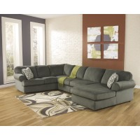 Jessa Place - Pewter 3 Pc. RAF Chaise Sectional