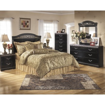 Constellations 4 Pc. Bedroom - Dresser, Mirror, Queen/Full Panel Headboard & Two Drawer Nightstand
