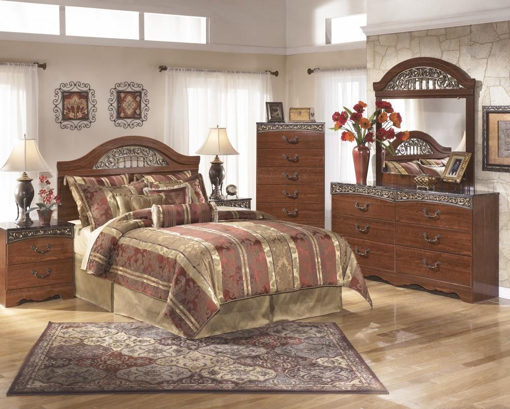 Fairbrooks 4 Pc. Estate Bedroom - Dresser, Mirror, Chest & Queen/Full Panel Headboard