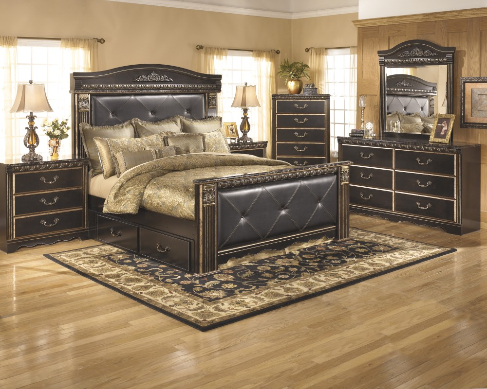 Coal creek 7 pc bedroom dresser mirror queen bed with underbed storage