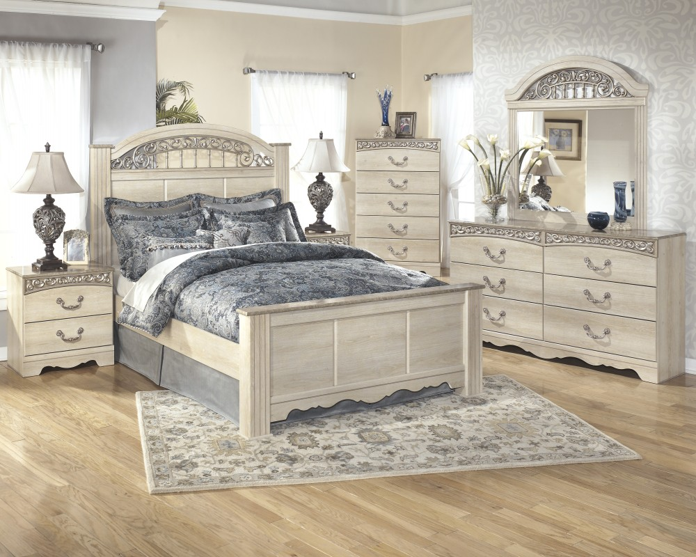 catalina 5 pc bedroom dresser mirror queen poster bed - White Bedroom Dresser