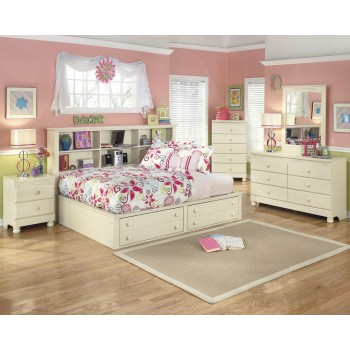 Cottage Retreat Dresser, Mirror, Full Bookcase Bed
