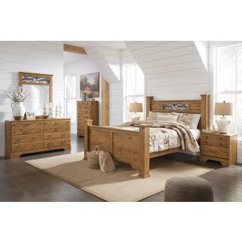 Bittersweet 7 Pc. Bedroom - Dresser, Mirror, Queen Poster Bed & Nightstand