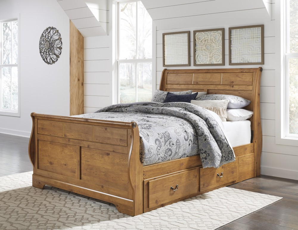 Bittersweet Queen Sleigh Bed With Storage B219 50 63 65 86 Complete Beds All American