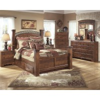 Timberline 7 Pc. Bedroom - Dresser, Mirror & Queen Poster Bed with Storage
