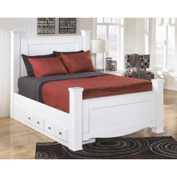 Weeki Queen Poster Bed with Storage