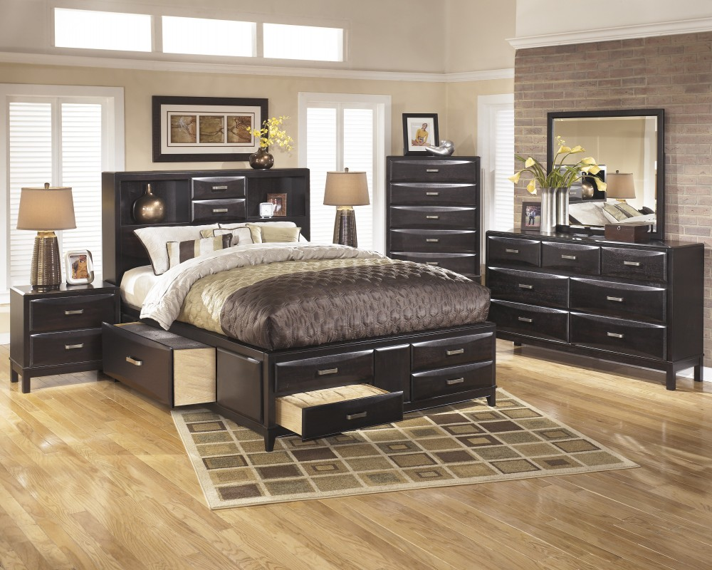 Kira 5 pc bedroom queen storage bed 2 nightstands bedroom groups texas discount furniture