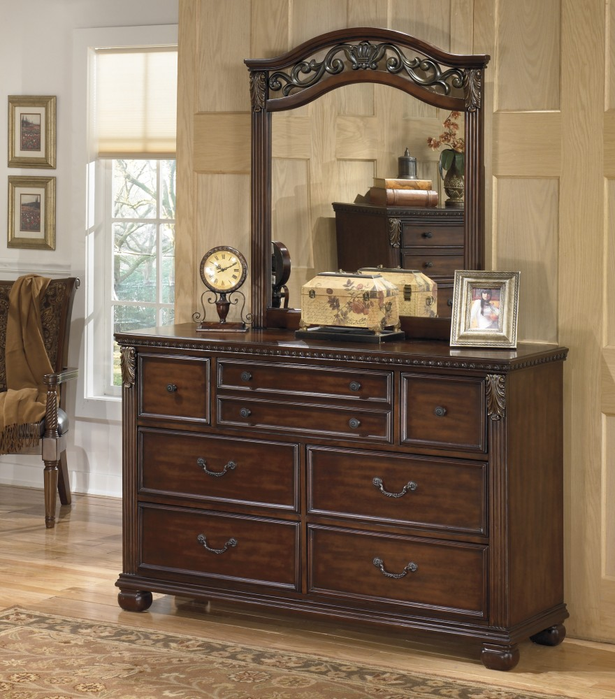 dresser with hutch mirror side shelf leahlyn dresser mirror b5263136 furniture