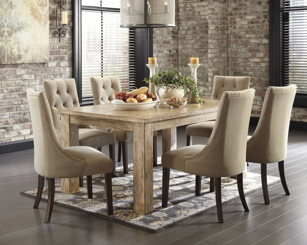 Mestler Bisque Rectangular Dining Room Table 4 Light Brown UPH Side Chairs