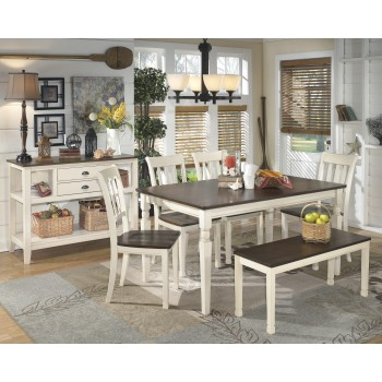 Whitesburg Table, 4 Side Chairs & Bench