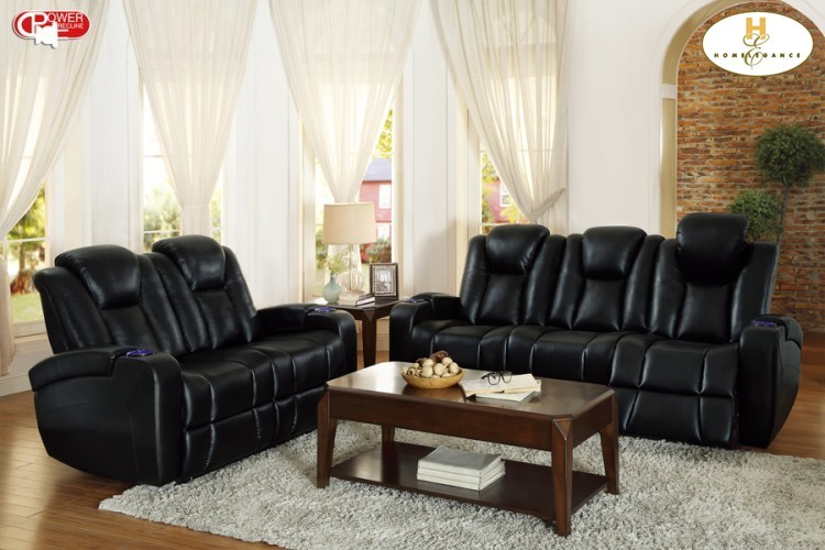 Power Double Reclining Sofa With Drop Down Cup Holders Reading