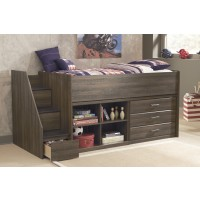 Juararo - Twin Loft Bed w/Bookcase, Drawers, & Left Storage Steps
