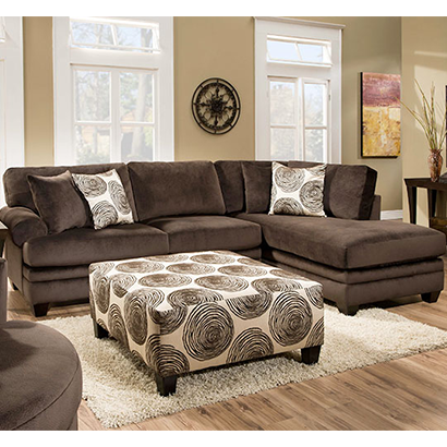 A W F 8642 Groovy Chocolate And Smoke Sectional 8642