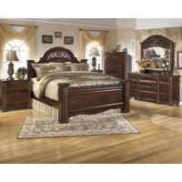 Gabriela Queen Poster Bed 5 pc Dresser, Mirror, Queen Post Bed