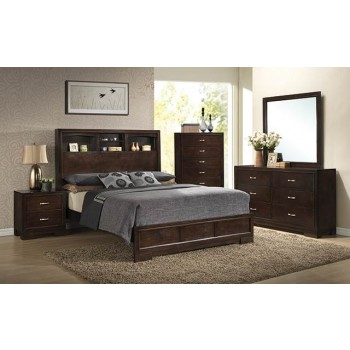 A.W.F. Walnut Bedroom Set - Headboard, Footboard, Rails, Dresser/Mirror, Chest