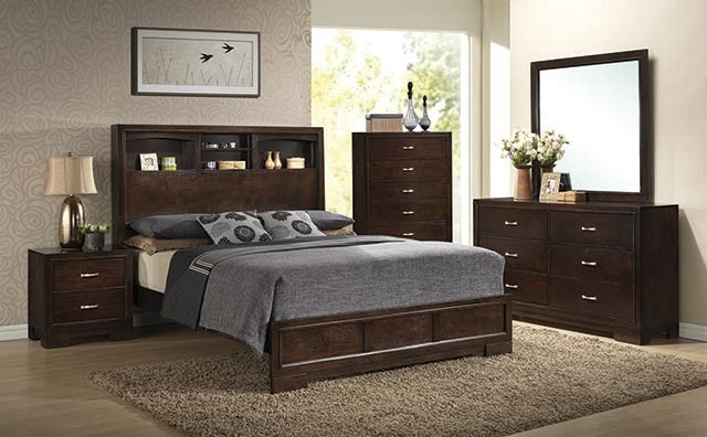 A.W.F. Walnut Bedroom Set - Headboard, Footboard, Rails, Dresser/Mirror, Chest