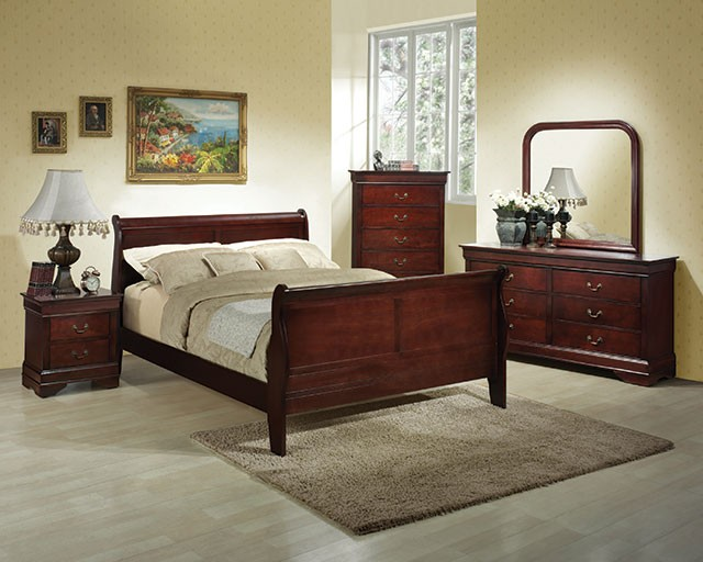 Charming A.W.F. Cherry Louis Philippe Bedroom Set   Headboard, Footboard, Rails,  Dresser/Mirror