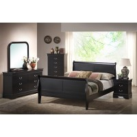A.W.F. Black Louis Philippe Bedroom Set - Headboard, Footboard, Rails, Dresser/Mirror, Chest