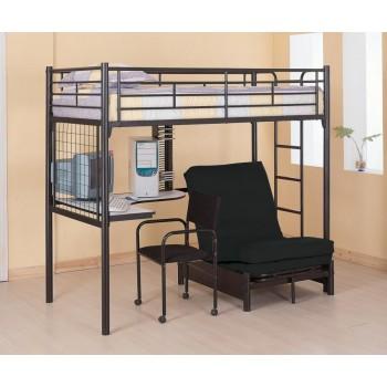 TWIN FUTON WORKSTATION LOFT BED - Contemporary Metal Loft Bunk Bed With Desk