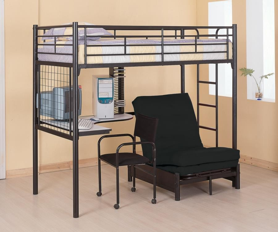 Jenner Workstation Loft Bed Contemporary Metal Loft Bunk