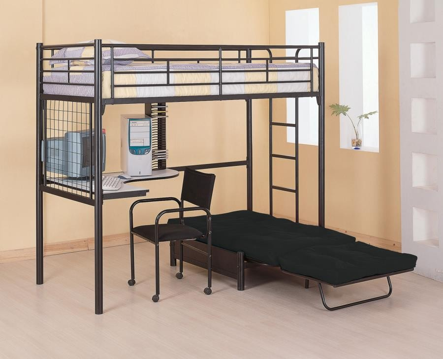 JENNER WORKSTATION LOFT BED - Contemporary Metal Loft Bunk Bed With Desk