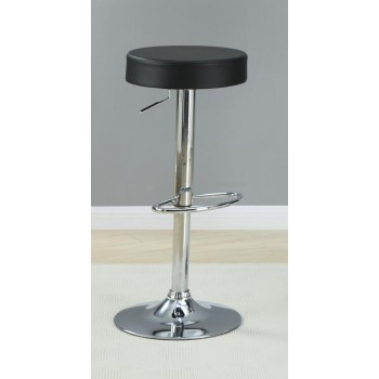 REC ROOM/ BAR TABLES: CHROME/GLASS - Black Faux Leather Adjustable Bar Stool