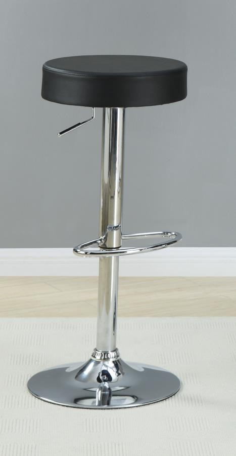 REC ROOM/ BAR TABLES: CHROME/GLASS   Black Faux Leather Adjustable Bar Stool