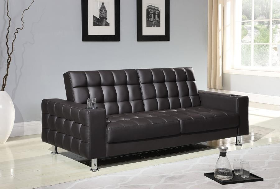 LIVING ROOM : SOFA BEDS - Brown Faux Leather Sofa Bed