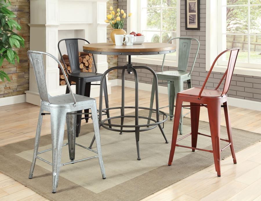 REC ROOM/ BAR TABLES: RUSTIC/INDUSTRIAL - Transitional Bar Table