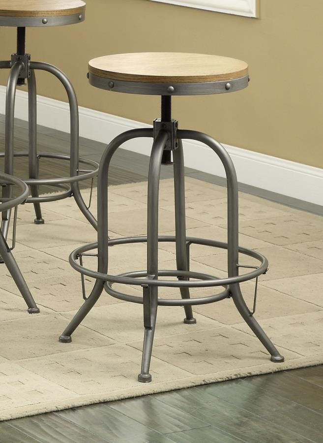 REC ROOM/ BAR TABLES: RUSTIC/INDUSTRIAL - ADJUSTABLE BAR STOOL (Pack of 2)