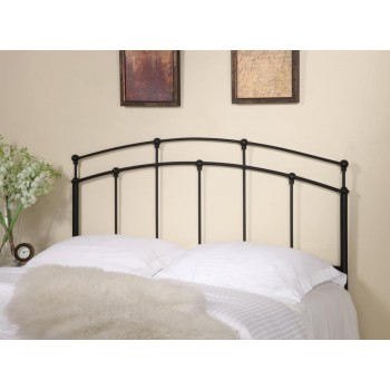 METAL HEADBOARD - Traditional Black Metal Headboard with Spindles