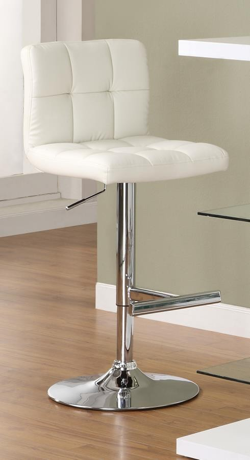 REC ROOM/BAR STOOLS: HEIGHT ADJUSTABLE - Contemporary White Adjustable Padded Back Bar Stool (Pack of 2)