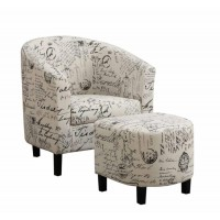 ACCENTS : CHAIRS - Transitional Vintage French Accent Chair with Ottoman