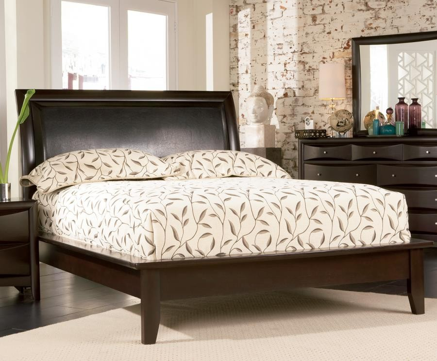 Phoenix Collection Phoenix Deep Cappuccino California King Platform Bed With Faux Leather Panel Headboard