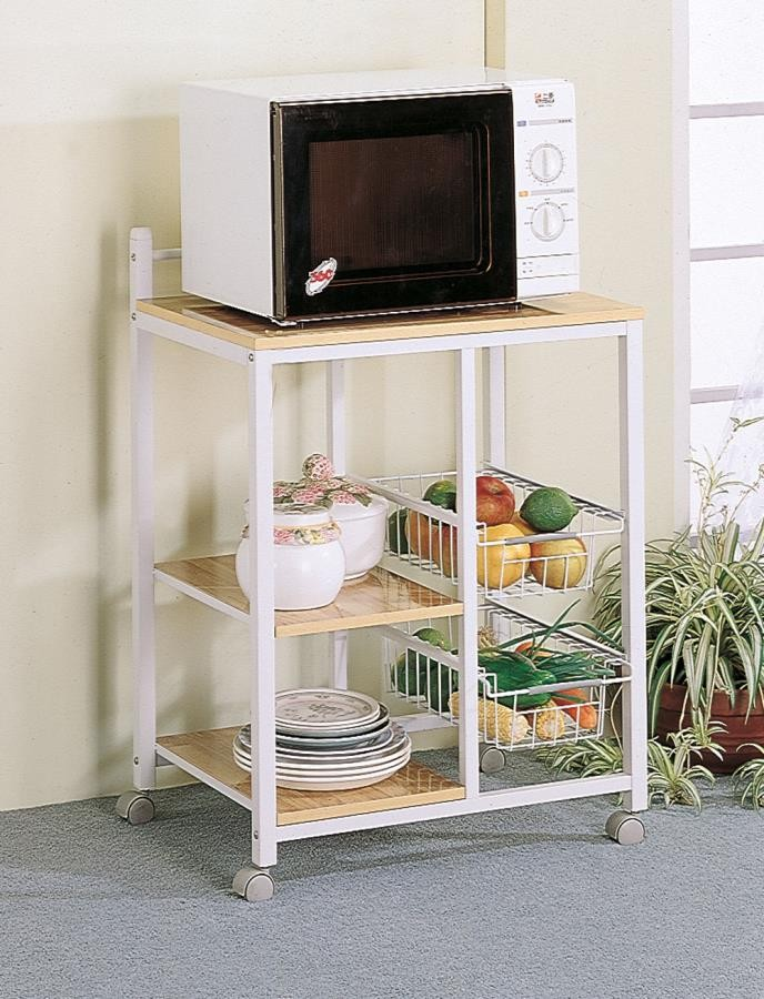DINING: KITCHEN CARTS - Natural Brown and White Casual Kitchen Cart