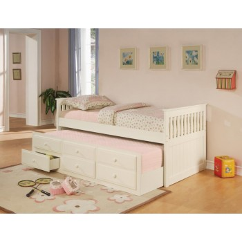 TWIN CAPTAIN'S BED WITH TRUNDLE - Transitional White Twin Daybed