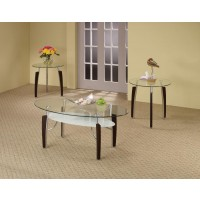 LESKOW COLLECTION - Occasional Table Sets Contemporary Cappuccino Round Three-Piece Set